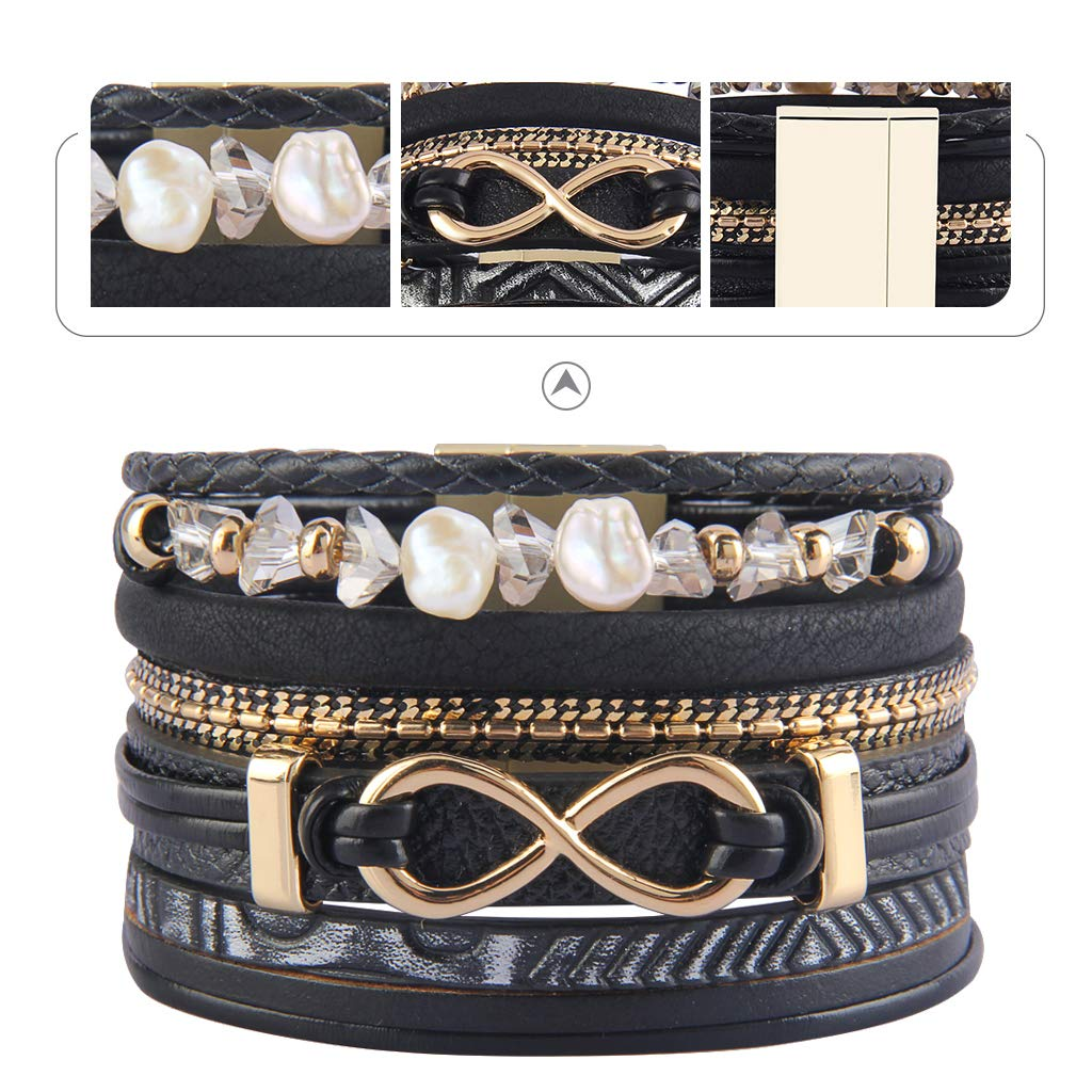 a8803b99cab Jenia Womens Multilayer Leather Wrap Bracelet Pearl and Feather Rope Cuff  Bangle Handmade Woven Jewelry for Kids, Teens Girls, Ladies Christmas  Birthday ...
