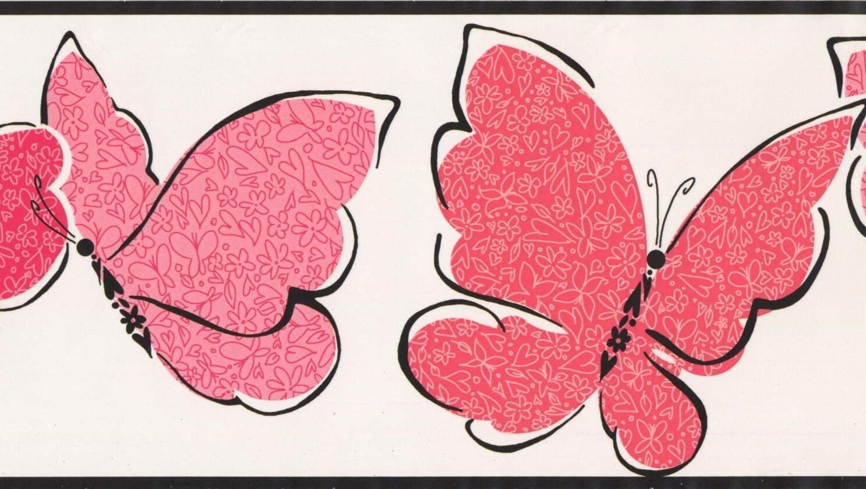 York Wallcoverings Red Pink Butterflies White Wallpaper Border For