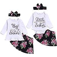 Baby Girls Little Big Sister Matching Outfits Short Sleeve Shirt Floral Skirt Pants Headband Clothes Set