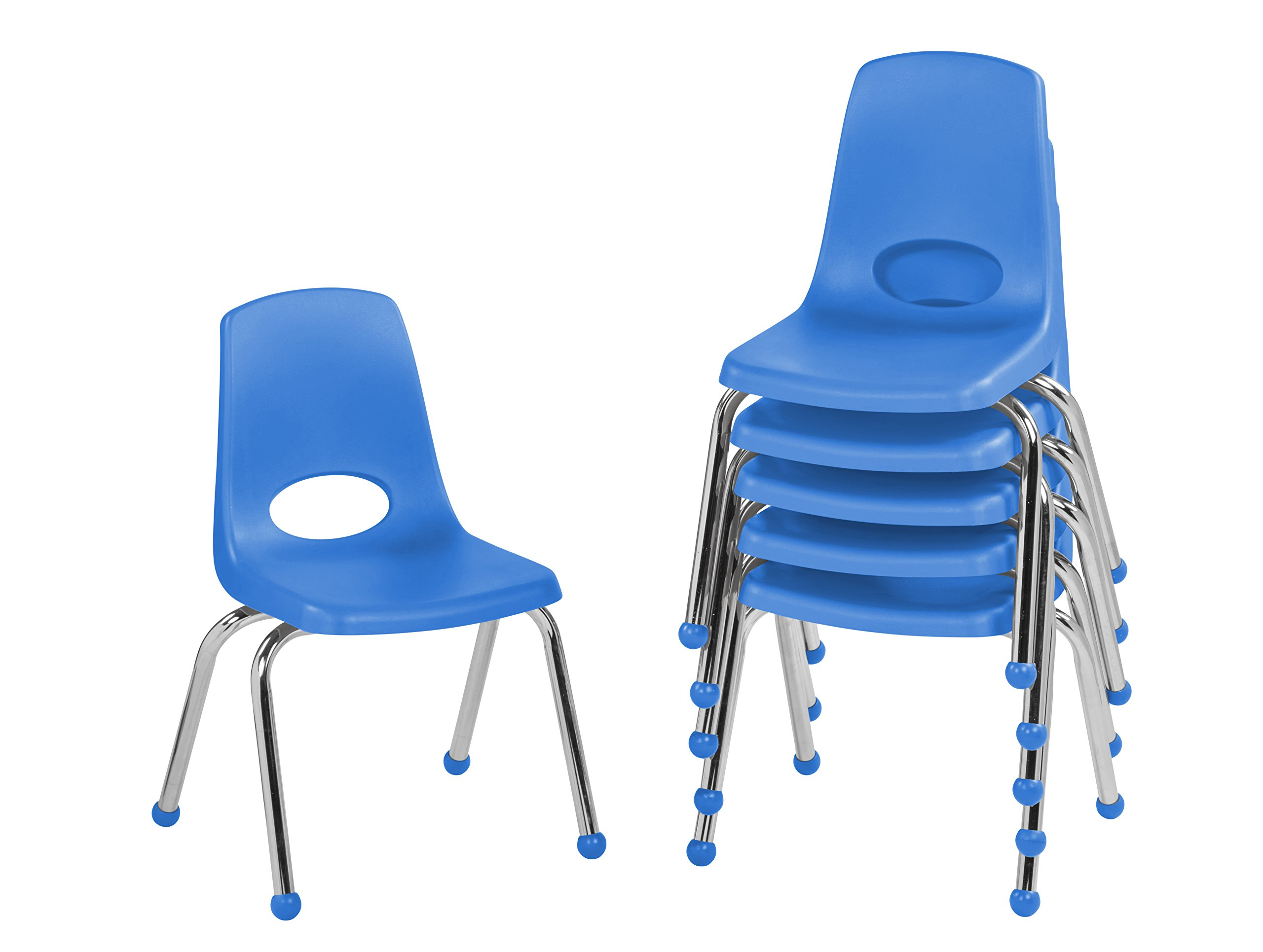 ECR4Kids 14'' School Stack Chair, Chrome Legs with Ball Glides, Blue (6-Pack)