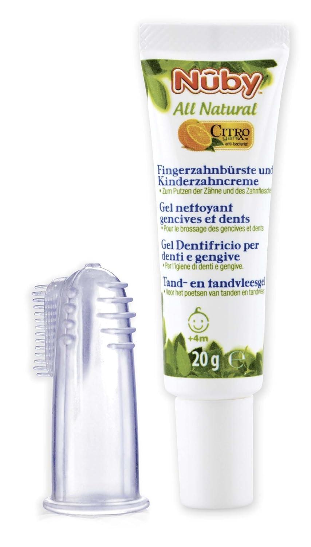 Citroganix CG67575 - Pasta de dientes y encías para bebés +4m, con cepillo dedal de silicona Nûby