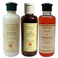 Khadi Mauri Herbal Combo (Hair Conditioner, 210ml + Shikakai Sat Shampoo, 210ml + Shikakai Hair Oil, 210ml)