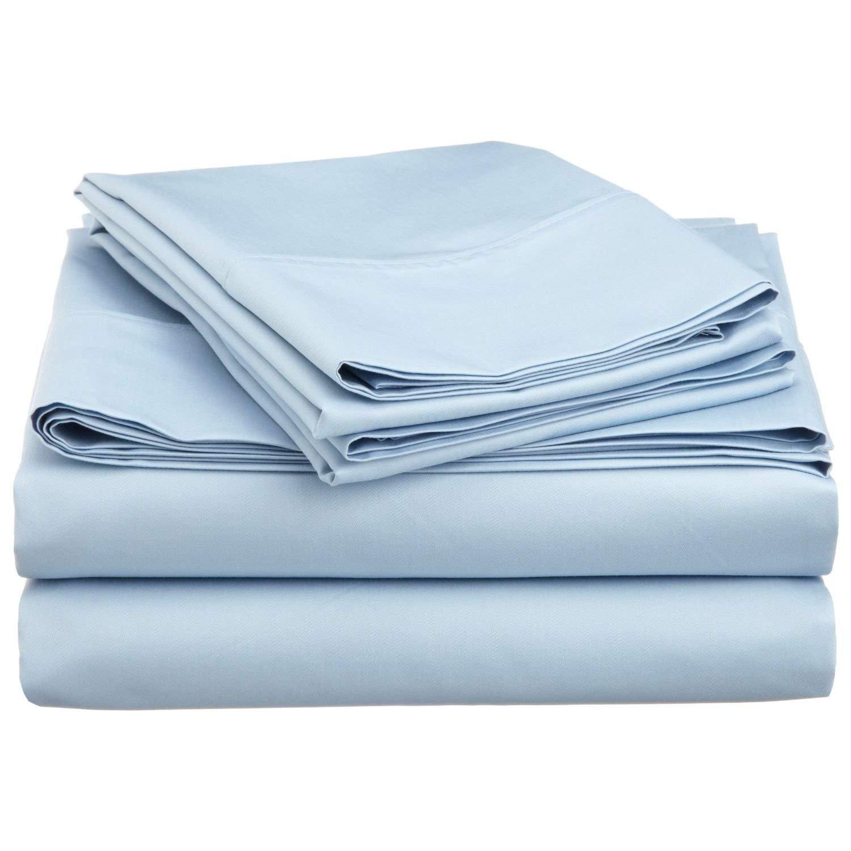 Sharp's Bedding ブランド 低アレルギー性 スリーパー ソファ ベッドシーツセット 600スレッドカウント 6インチまで対応 ディープポケット 100%エジプト綿 無地 ツイン ブルー B07KDWG4SW ライトブルー無地 ツイン
