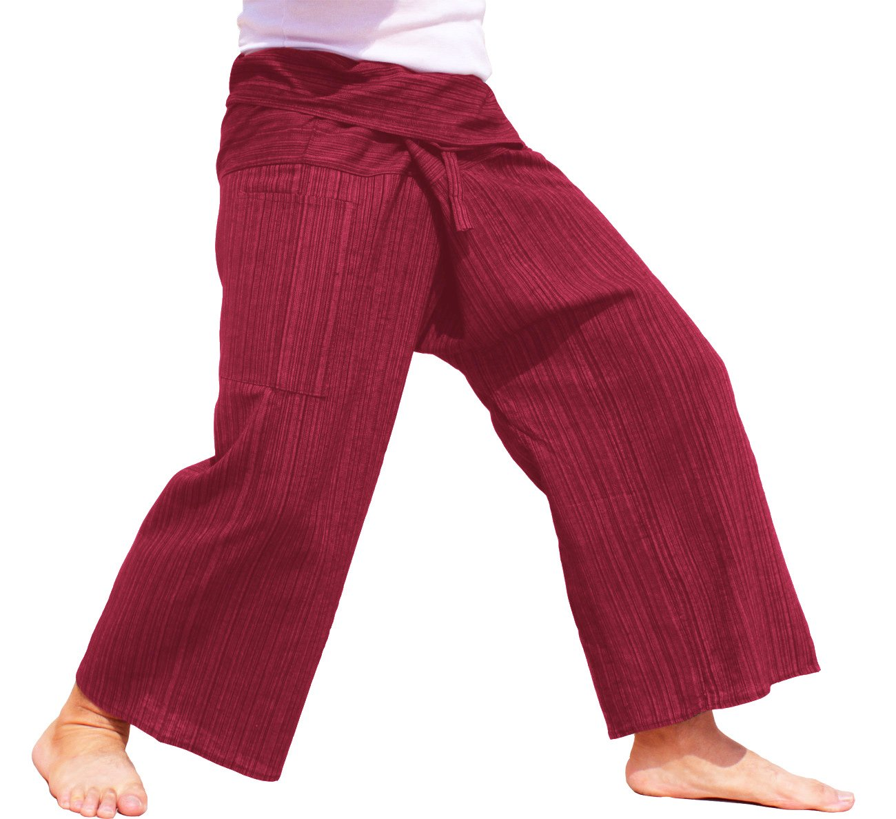 RaanPahMuang Light Striped Cotton Tall Thai Fisherman Wrap Pants Plus, XX-Large, Heavy Red by RaanPahMuang