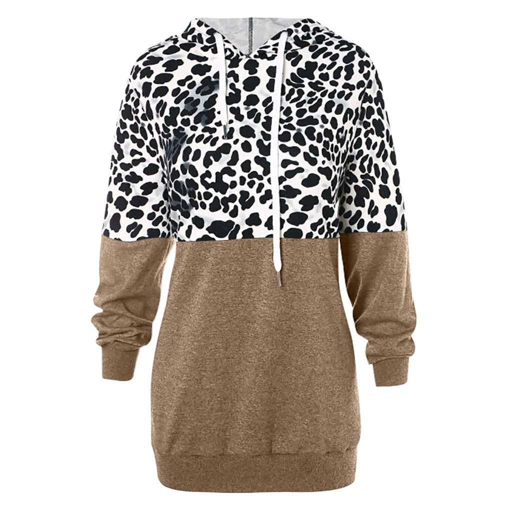 〓COOlCCI〓Women's Fashion Hoodies & Sweatshirts, Women's Casual Leopard Color Block Patchwork Hoodie Jacket Tops Blouse Coffee by COOlCCI_Womens Clothing