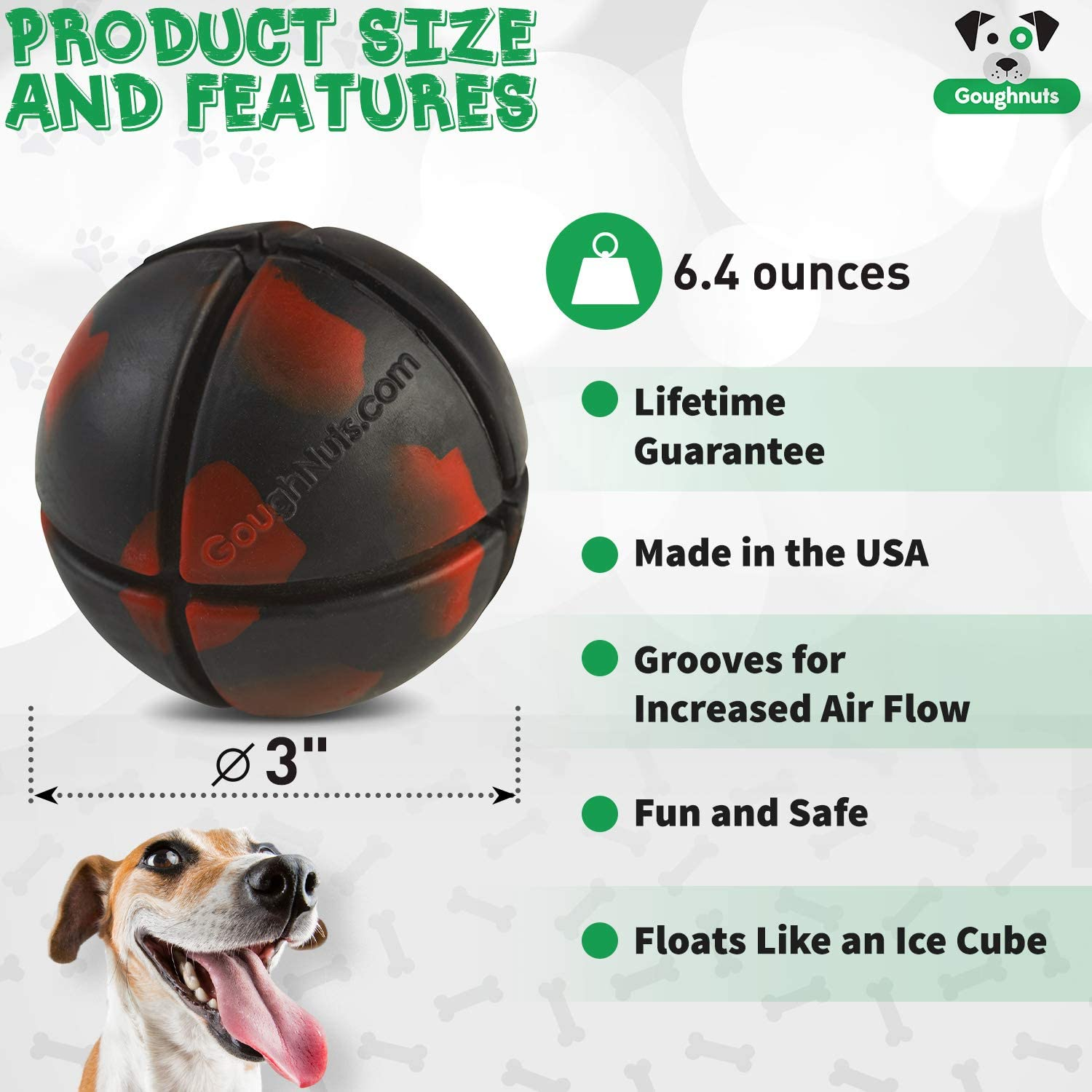 Black for Medium and Large Dogs 30-70 Pounds Goughnuts Dog Chew Toys Rubber Ball Virtually Indestructible Dog Toys for Aggressive Chewers