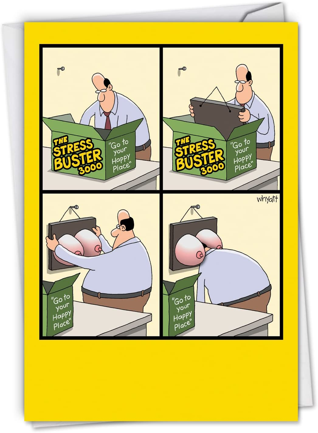 Amazon Com Stress Buster Funny Birthday Greeting Card See A Classic Middle Aged Man Go To His Happy Place With Envelope C4170bdg Office Products