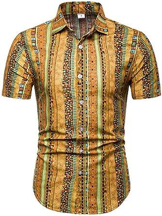 GRMO Camisas de manga corta para hombre con estampado africano Dashiki Casual Regular Fit: Amazon.es: Ropa y accesorios