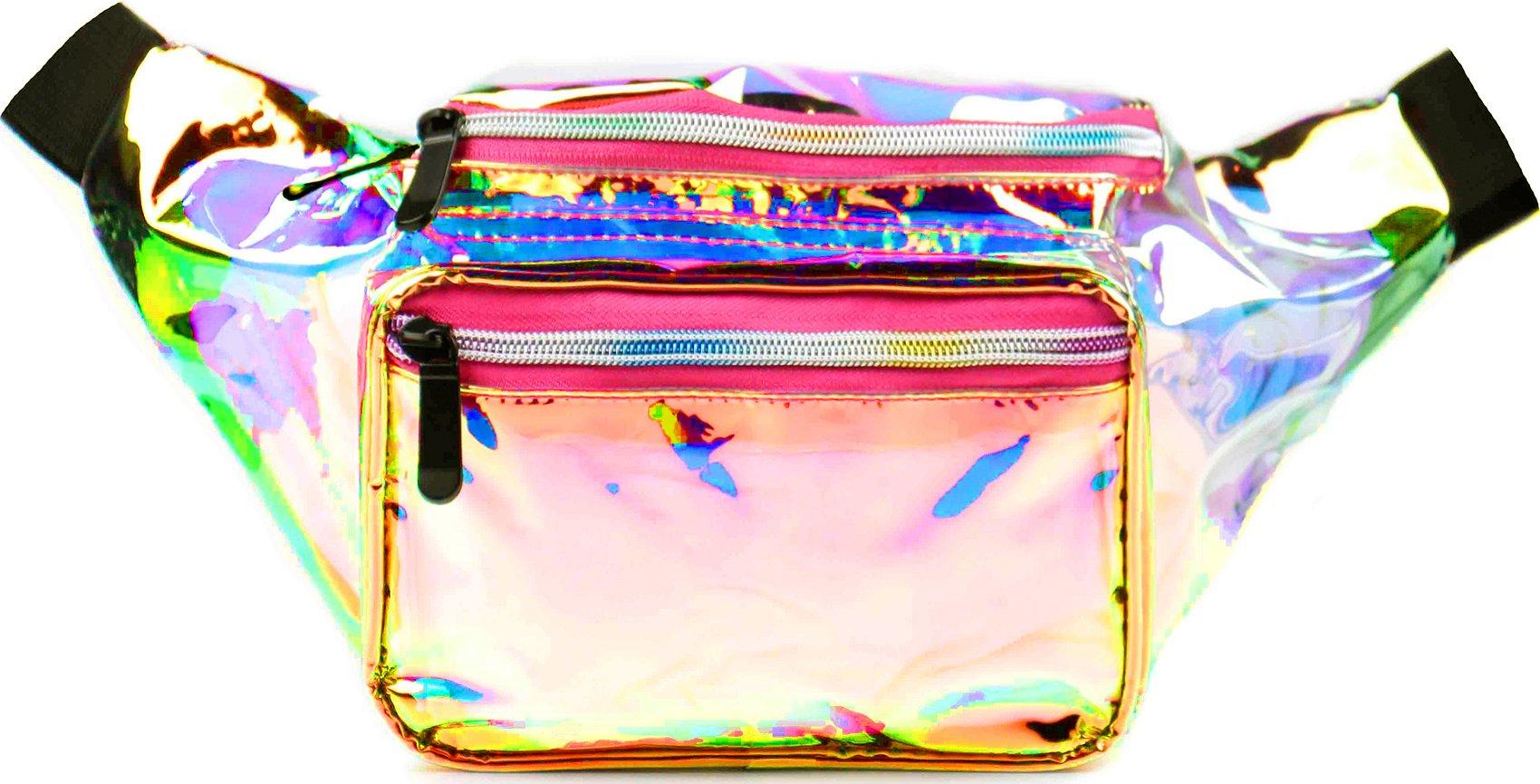 SoJourner Festival Rave Fanny Pack - Holographic Transparent Pink & Gold