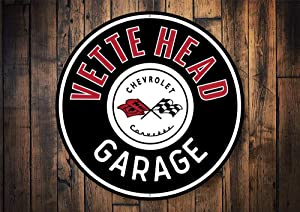 "Vette Head Garages, Corvette Garage, Corvette Owners, Corvette Repair, Mechanic Sign, Chevy Repair Man, Garage Repairs- Metal Round Sign, Aluminum Tin Plaque Wall Art Poster 12""x12"""