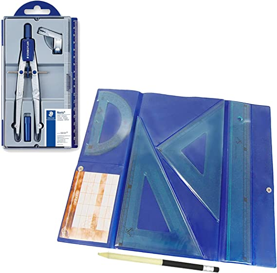 Lote Estuche 550 Bigotera compás escolar de precisión Staedtler Noris Club + Estuche tecnic Juego de Regla 30 cm, escuadra y cartabón de 25 cm + REGALO: Amazon.es: Oficina y papelería
