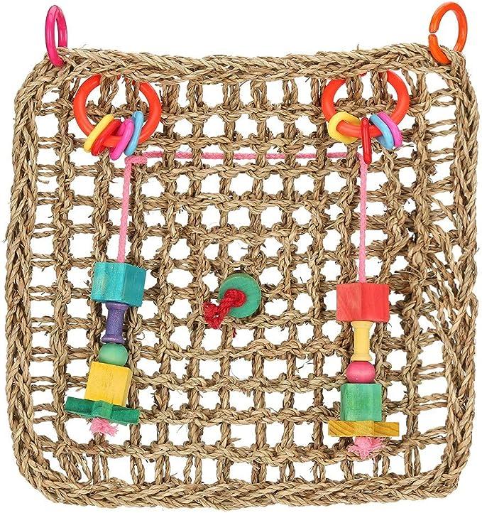 Bird Chew Toy, Natural Seagrass Ejercicio Juguetes de Entretenimiento Bird Climbing Net Swing Cuerda Colgando Red Mat Jaula de pájaros Accesorios para periquitos Periquito Macaw Parrotlet