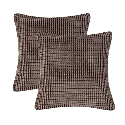 Superb Amazon Com Carrie Home Pack Of 2 Comfy Brown Throw Pillow Creativecarmelina Interior Chair Design Creativecarmelinacom