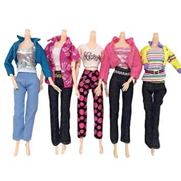 913df8de6cd Beetest Vetements Barbie 5 Set Mode Fille Poupée Jouets Vêtements  Décontractés Vêtements Tenues Tops Et Pantalon