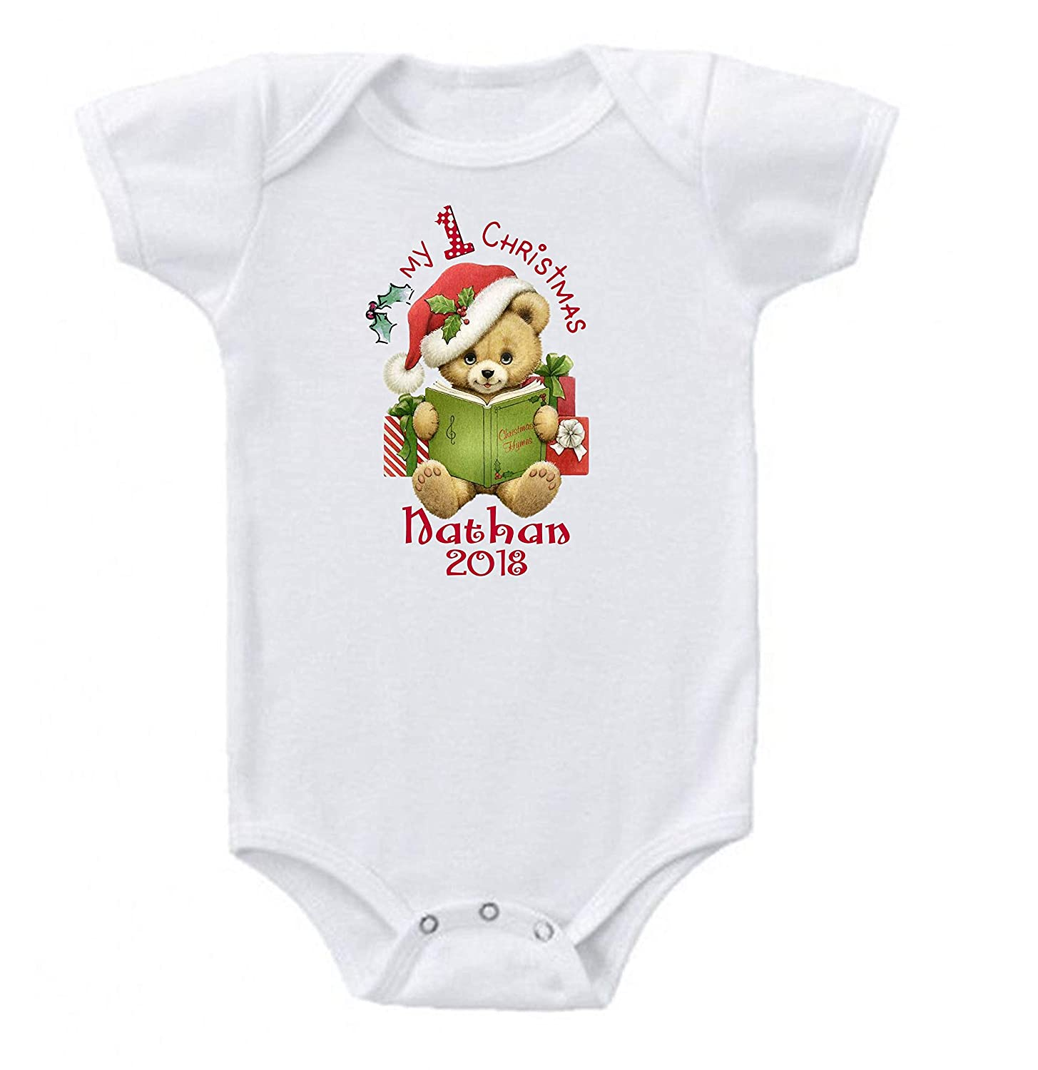 Onesie Babys First Christmas Bear Book Personalized Name Custom Short Sleeve 0 to 3 mos or 3 to 6 months or 6 to 12 months for Boys or Girls