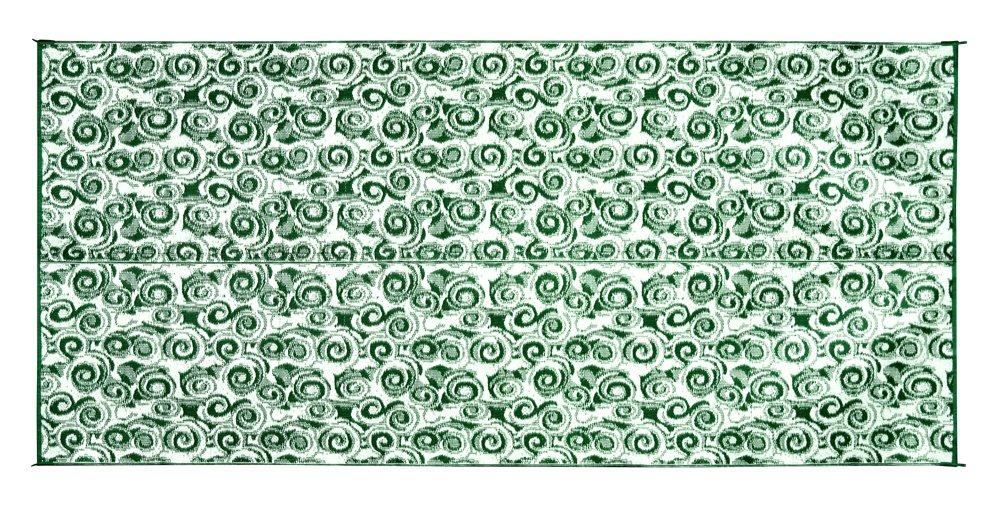 Camco 42840 Stuoia Reversibile per Esterni, 2.44 x 4.88 m, Verde con Motivi a Spirale