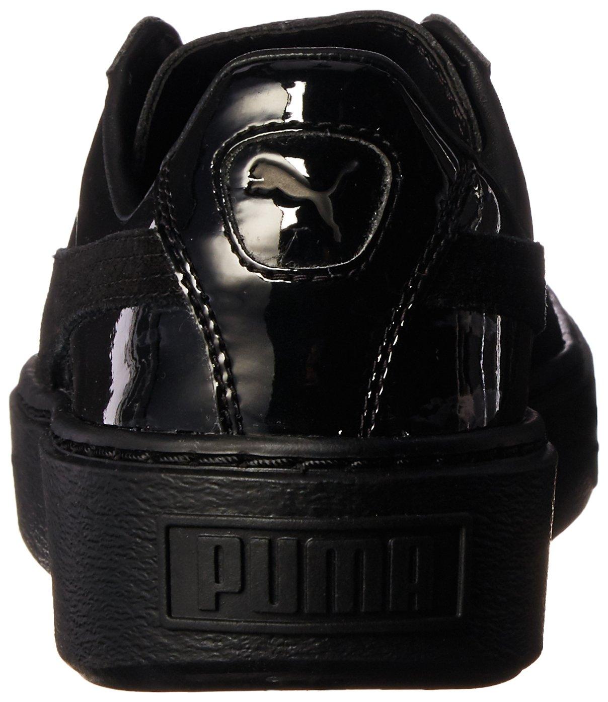 PUMA Women's Basket Platform Patent Fashion Sneaker B01LPWHOZA 8 M US|Puma Black-puma Black