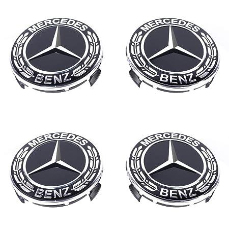 4 Tappi Coprimozzo Logo Mercedes Benz da 75mm Foglia di Alloro Nero per Borchie Cerchi Lega Classe A B C E CLA CLK Valvola Coprivalvola per Pneumatici in Omaggio