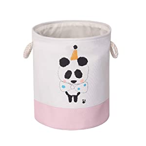 Kids Storage Bin, Large Sized Handled Canvas Fabric Collapsible Organizer Basket, Waterproof Foldable Bins for Laundry Hamper, Toy Bins, Gift Baskets, Clothes, Baby Nursery (Panda)