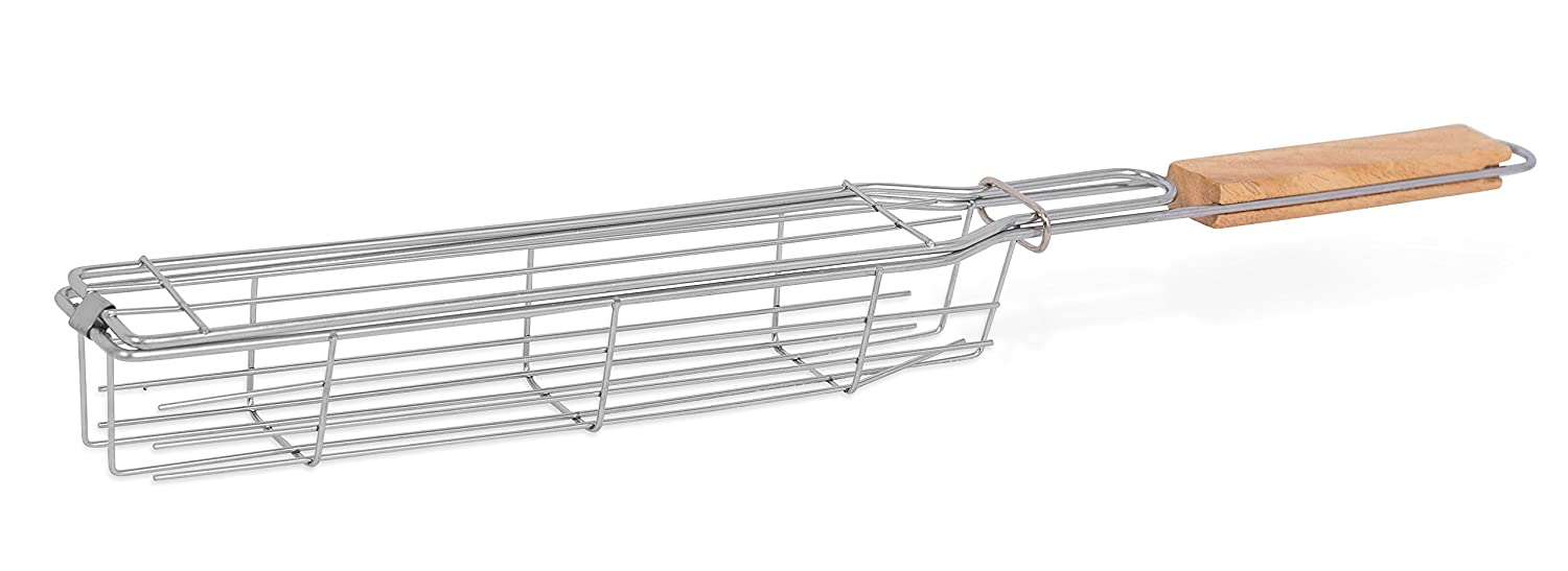 Internet's Best Stainless Steel BBQ Kabob Grilling Basket | Barbeque | Wooden Handle