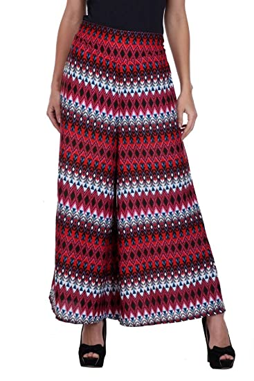 721ad8cd1603a5 Deewa Red Printed Palazzo  Amazon.in  Clothing   Accessories