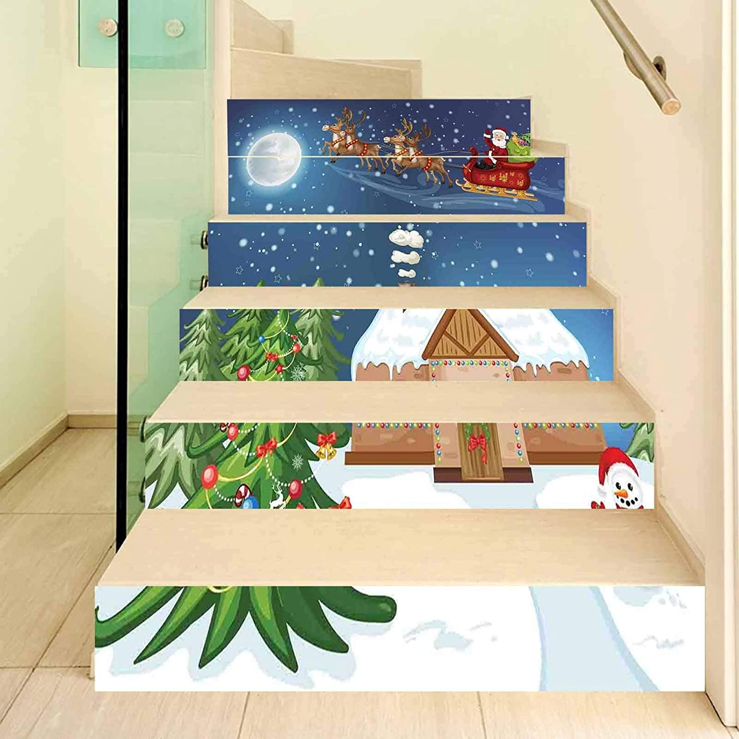 Christmas Decorations 3D Stair Stickers Decals-6Pcs/Set,Classic Eve Scene Santa Delivering Gift with Rudolf the Red Nosed Reindeer Stair Risers Stickers Removable Staircase Decals Mural Wallpaper for