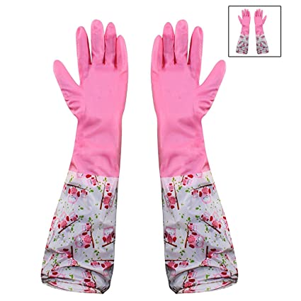 Hokipo Reusable Pvc Flocklined Hand Gloves For Kitchen, Free Size, Elbow  Length, 1