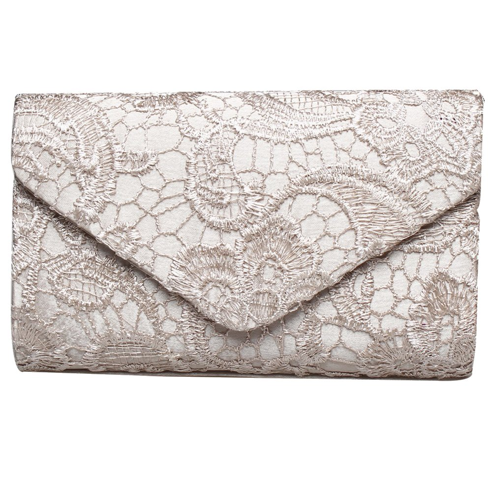 BaoLan Evening Clutch, Womens Floral Lace Envelope Clutch Purses For Wedding And Party Apricot