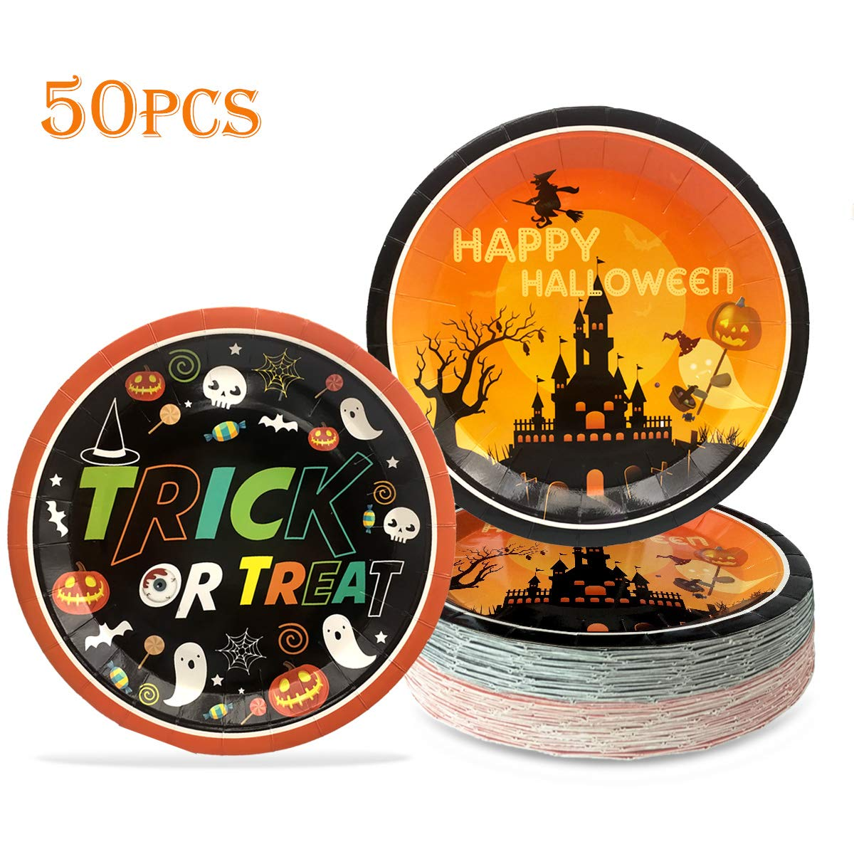 Halloween Plates Party Supplies - Trick or Treat Paper Dinnerware Happy Halloween Round Tray Home Dinner Décoration Dish Dessert Cake Plates Disposable Platters Sets Accessory for Kids 9'' (50pcs) by KooNicee