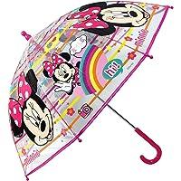 Paraguas Minnie Mouse Paraguas Transparente Cupula Infantil Paraguas Fibra de Vidrio Resistente Antiviento Paraguas Niña…