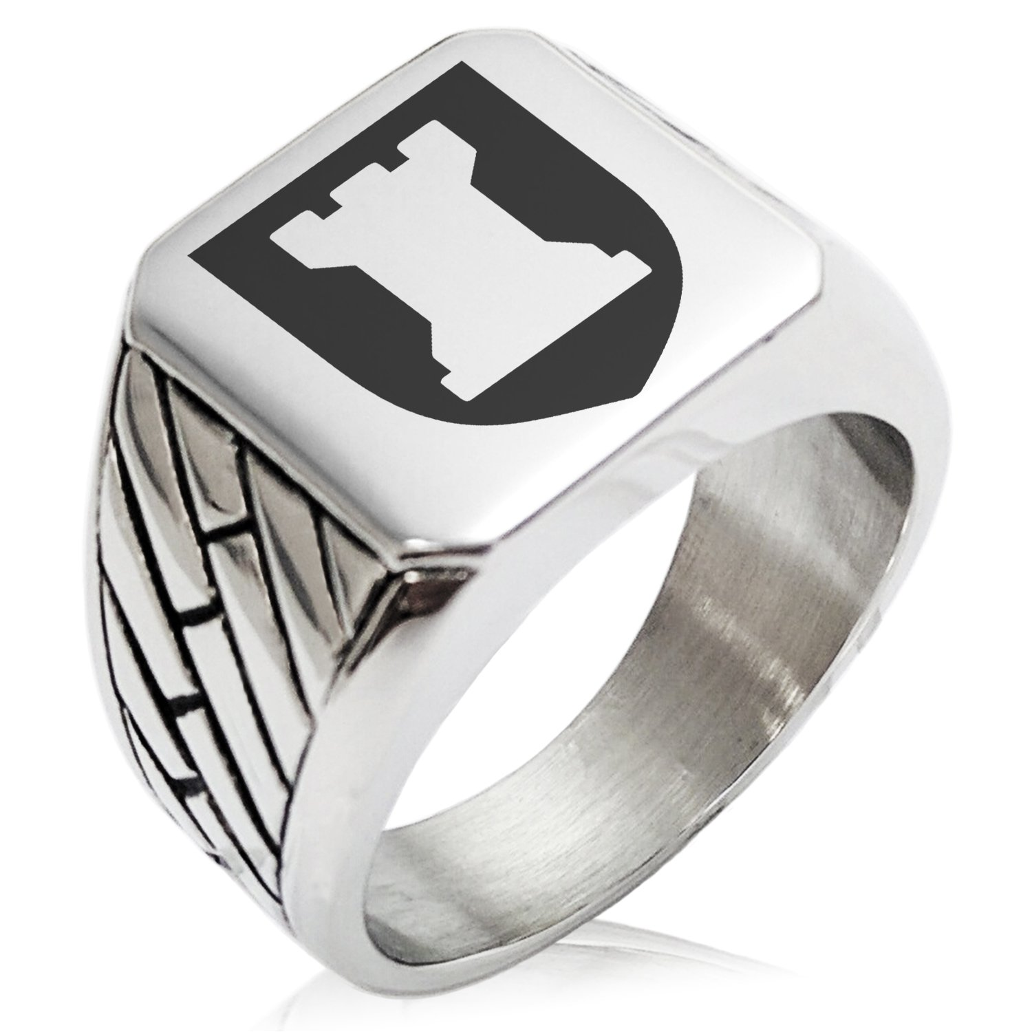 Two-Tone Stainless Steel Rook Strategy Coat of Arms Shield Engraved Geometric Pattern Biker Style Polished Ring, Size 8