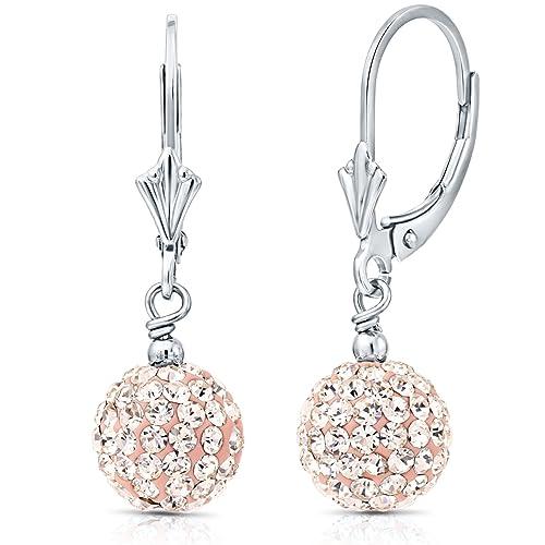 e32a093ec0655 Amazon.com: Sterling Silver Crystal Ball Drop Earrings (Champagne ...
