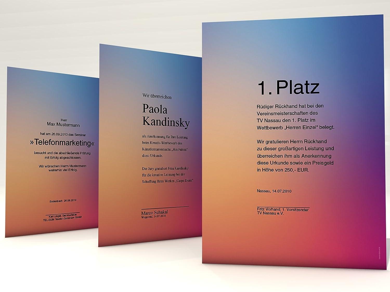 70 års gratulation Urkundenpapier Verlaufspapier, 100 Blatt für Zertifikate DIN A4  70 års gratulation