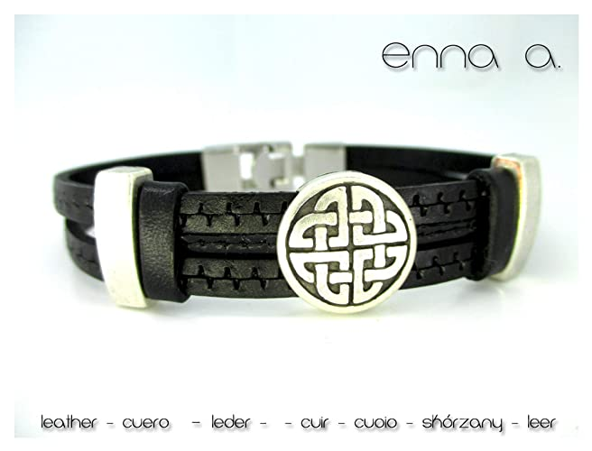 52ed03bbe51f Pulsera cuero negro grabado celta.: Amazon.com.mx: Handmade