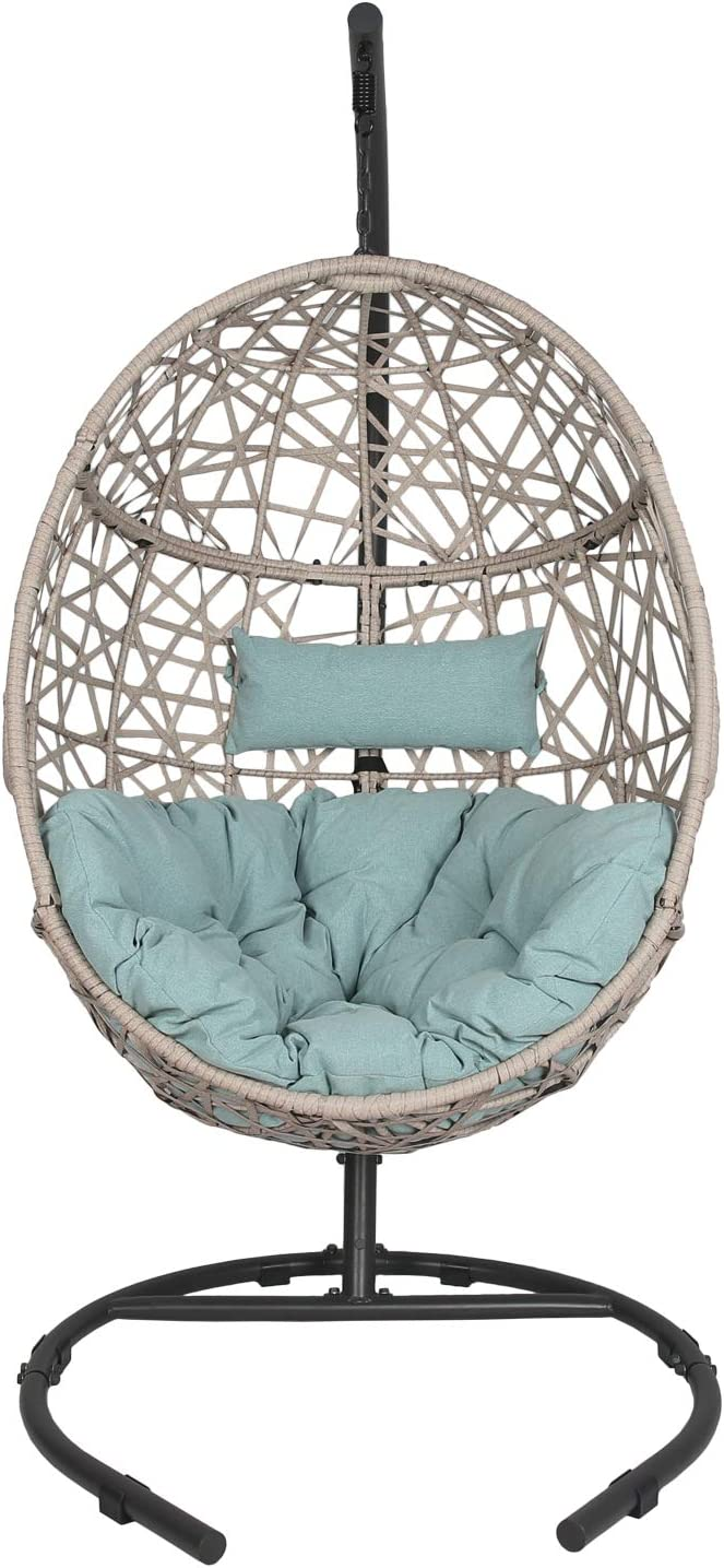 Outdoor Patio Wicker Hanging Basket Swing Chair Tear Drop Egg Chair with Cushion and Stand