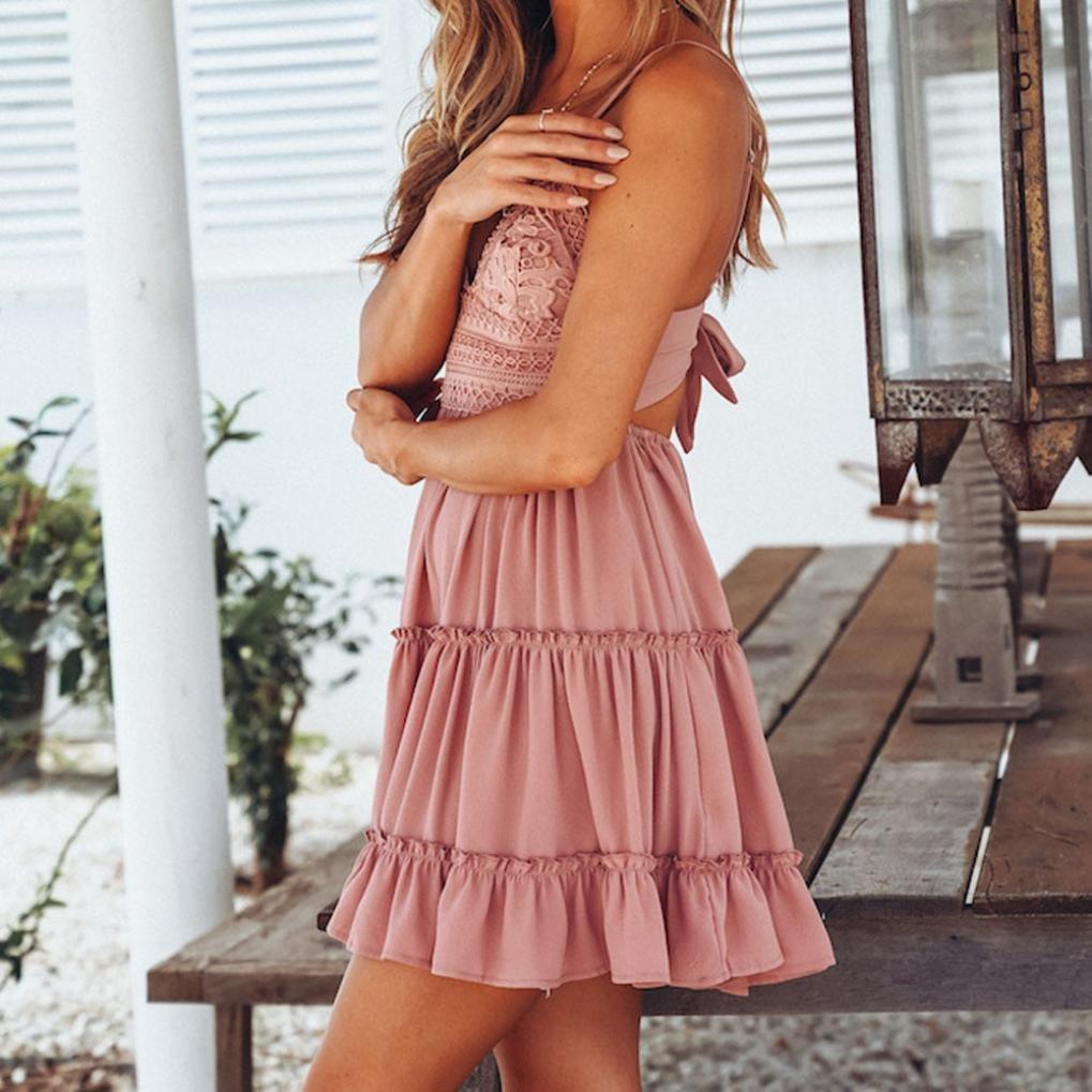 fa847390f5 Twinsmall Women Summer Backless Mini Dress White Evening Party Beach  Dresses Sundress Twinsmall-MTS265