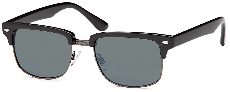 Vintage Sonnenbrille im angesagten 60er retro Browline-Style mit markantem Halbrahmen in Hornoptik, auch für schmalere Gesichter, Verlaufglas (schwarz matt/grün verspiegelt)