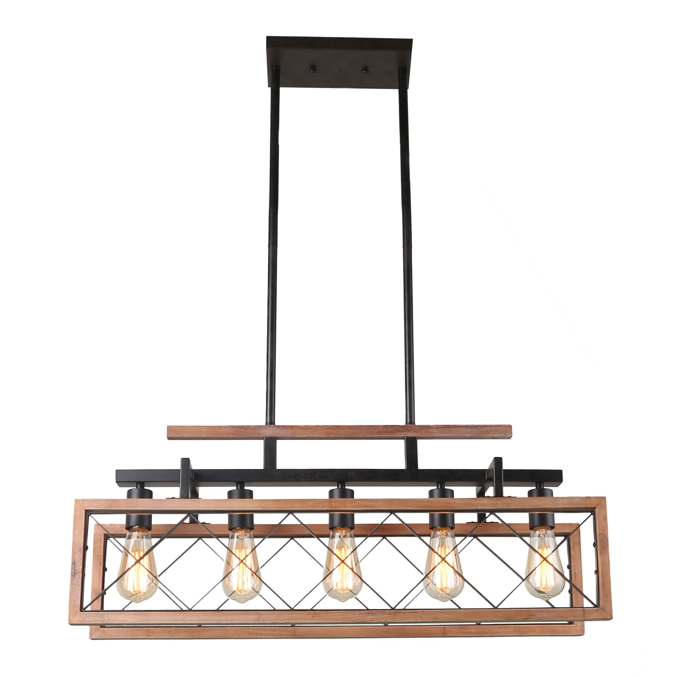 Giluta Rustic Wooden Chandelier Kitchen Island Light Farmhouse Chandelier Hanging Pendant Lighting Fixture Vintage Ceiling Light 5 Lights Ideal for Living Room Pool Table or Foyer (C0060) by Giluta (Image #4)