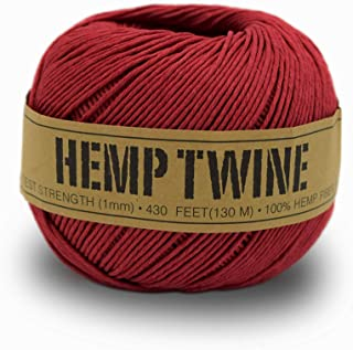 product image for 100% Hemp Twine Ball 1MM, 100G/430 Ft. - 20 lb. Test Strength - Red