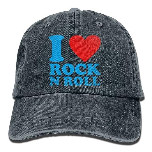 784edeff44c Unisex Baseball Cap I Love Rock N  Roll Adjustable Denim Trucker Hat for Men