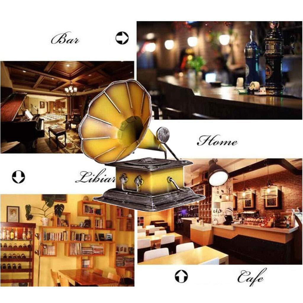 13.5x13.5x20CM FutuHome Gram/ófono Vintage Decoraci/ón Grabador Reproductor Altavoz 3 Colores Amarillo