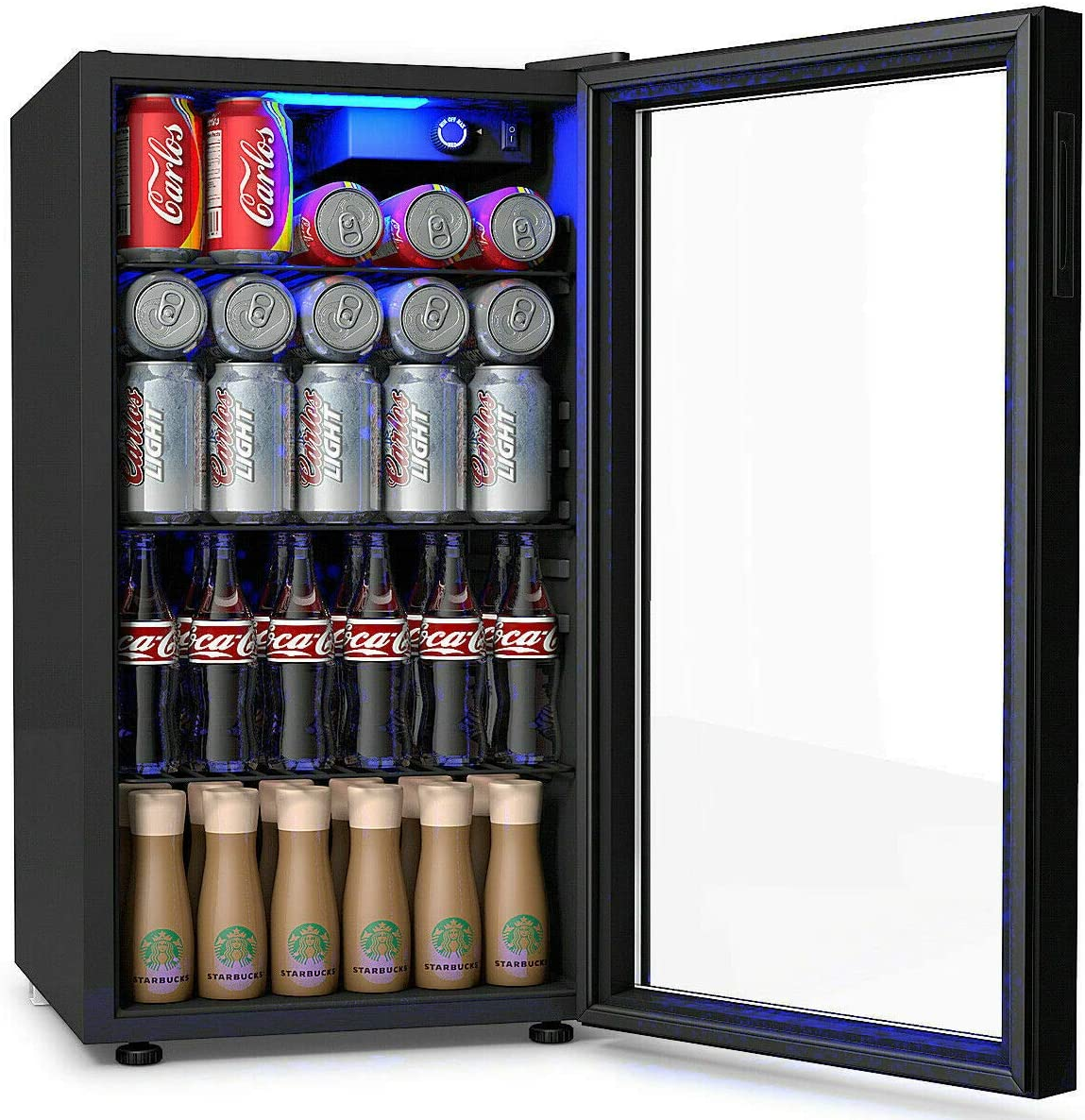 Amazon Com Costway Beverage Refrigerator 3 2 Cubic Foot Capacity 120 Can Beverage Cooler With Led Light Adjustable Thermostat Removable Shelves Perfect For Soda Beer Or Wine Small Drink Dispenser Machine Appliances