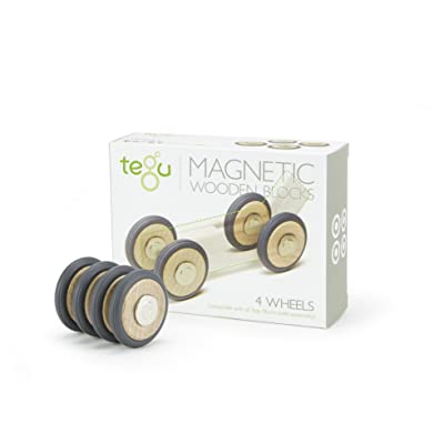 4 Pack Tegu Magnetic Wooden Wheels: Toys & Games