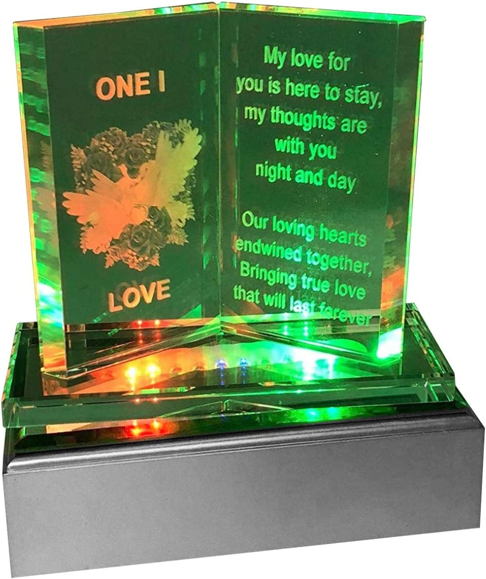 Led Light One I love Plaque SAFRI Multicolour Led Lights One I Love Plaque Girlfriend Boyfriend GF BF Her Him Fiance Wife Present Gifts