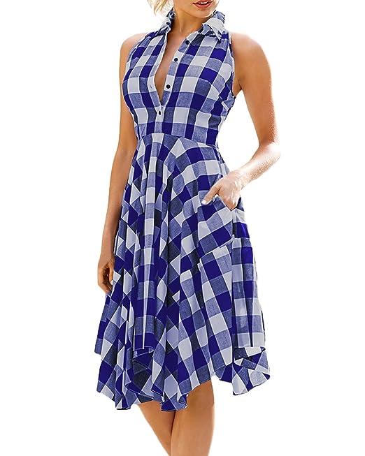 Auxo Mujer Midi Vestidos Chic Camisa a Cuadros sin Mangas Blusas Largas Elegante Verano Azul ES