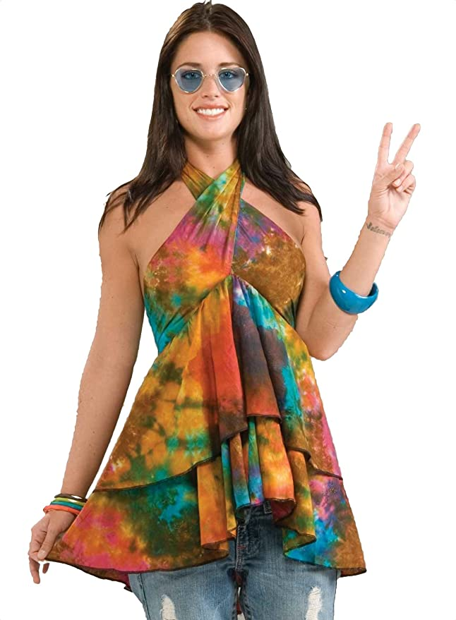 70s Costumes: Disco Costumes, Hippie Outfits Forum Novelties Womens 60s Hippie Revolution Ruffle Top Halter Blouse $14.98 AT vintagedancer.com
