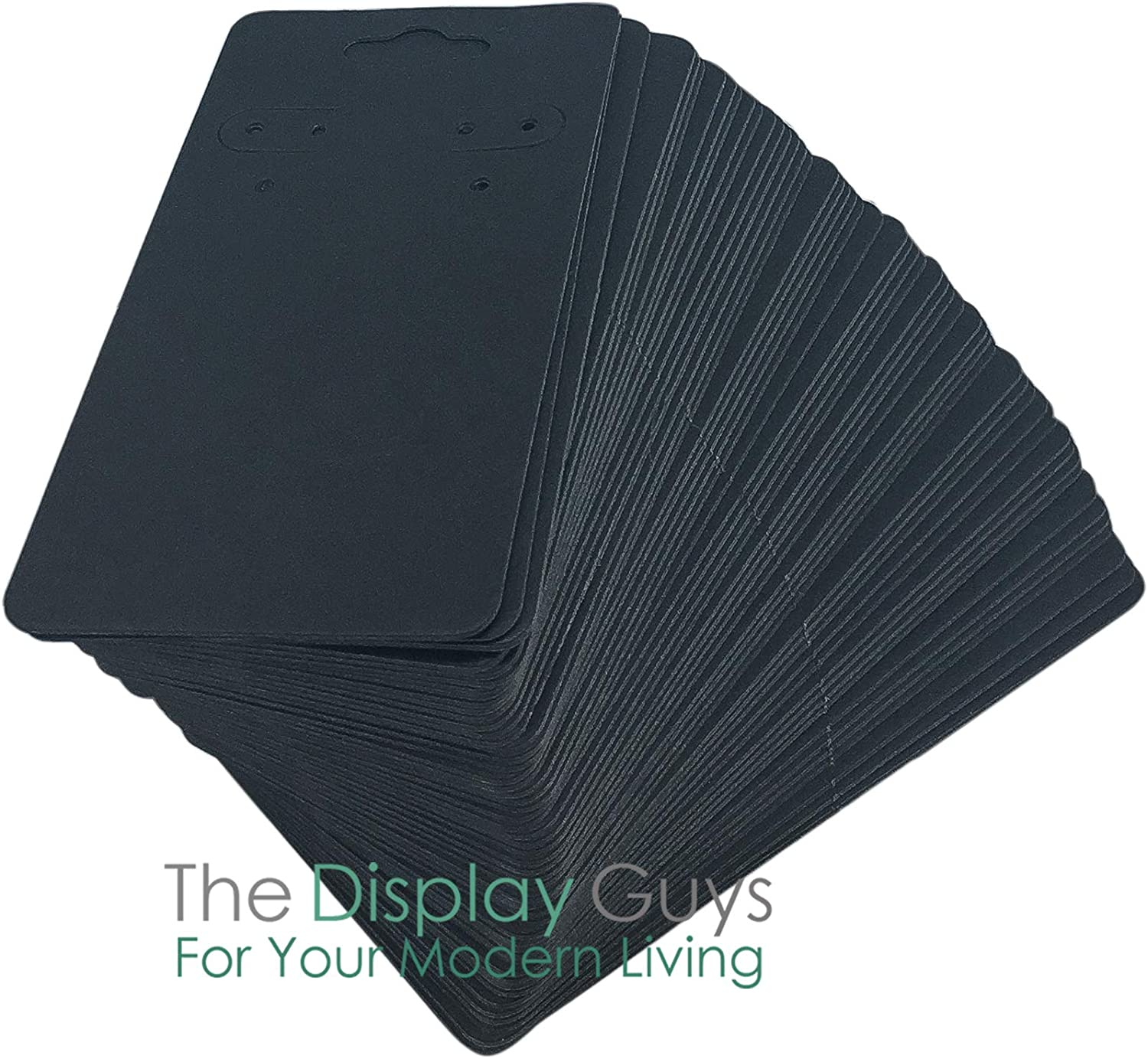 The Display Guys Pack of 100 pcs 2x2 inch 5x5 cm Matte Black Paper Necklace Earrings Display Hanging Cards for Jewelry Accessory Display