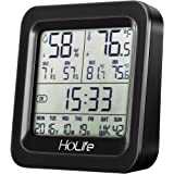 HoLife Hygrometer Thermometer, Digital Multifunctional Wireless Indoor Temperature and Humidity Monitor Sensor Home Weather Station with Digital Clock, Large LCD Screen, Grey