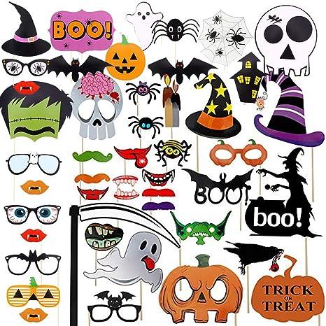 Accesorios para el fotomatón de Halloween, 48piezas Calabaza ...