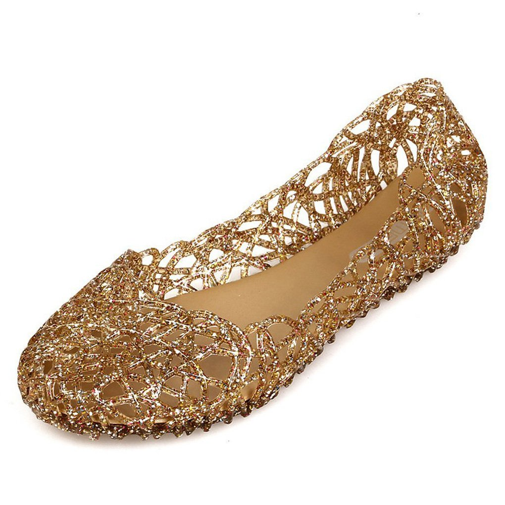 Minetom Damen Sandalen Bird-Nest Weich Plastik Jelly Schuhe Hohl Flach Gelee Ballett Shoes Sommer Mode Casual S/ü/ßer